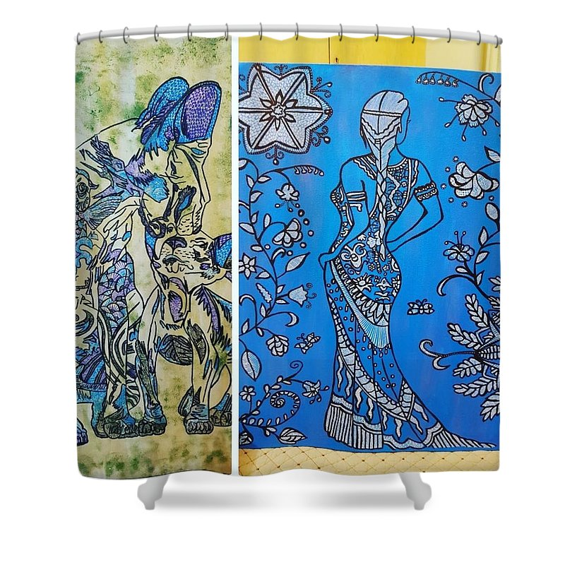 Shower Curtain featuring the drawing Lady N Neox Cat by Meghna Patel