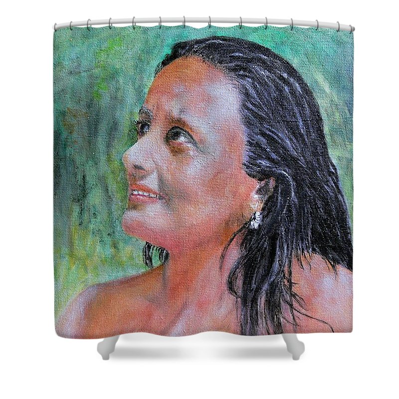 Lady Shower Curtain featuring the painting Lady Of India by Helmut Rottler