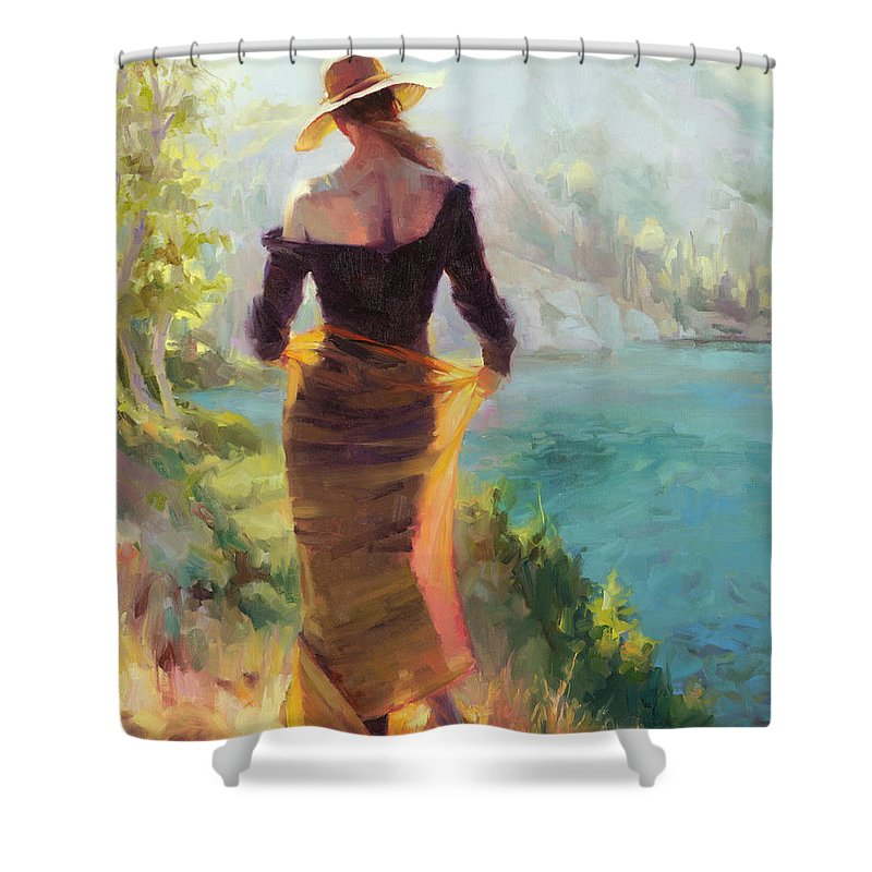 Woman Shower Curtain featuring the painting Lady of the Lake by Steve Henderson