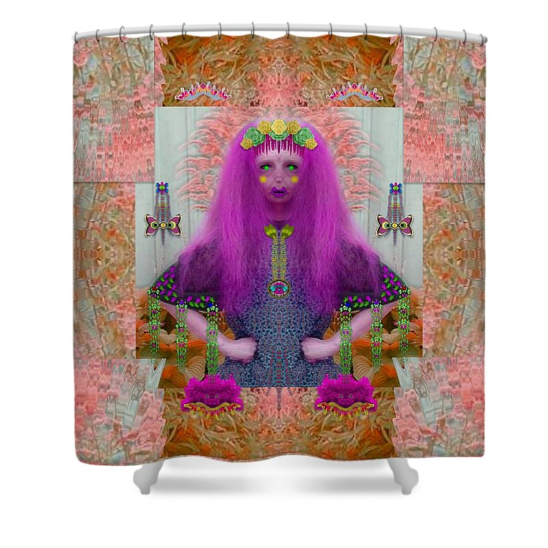 Panda Shower Curtain Featuring The Mixed Media Lady In Enchanted Forest With Magic Flowers