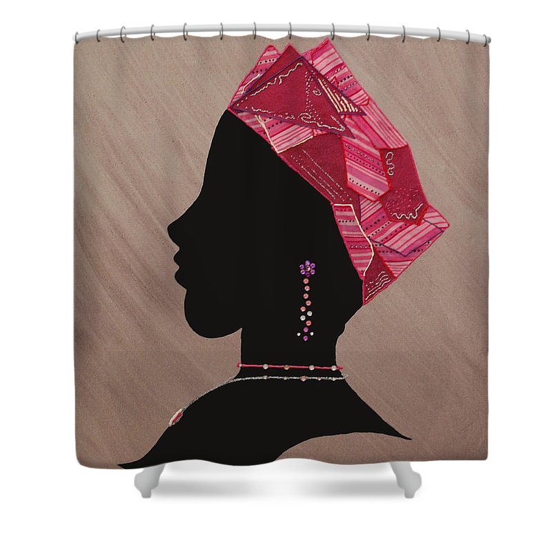 Jewelry Shower Curtain featuring the mixed media Lady Pink by Kayon Cox