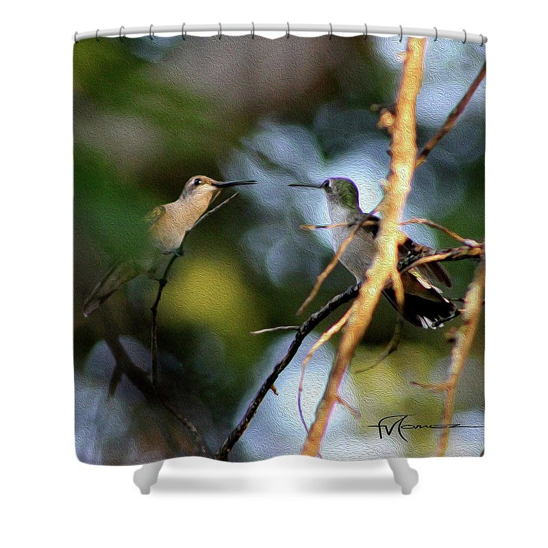 Wildlife Outdoor Images Shower Curtain featuring the photograph Lady Talk by Felipe Gomez