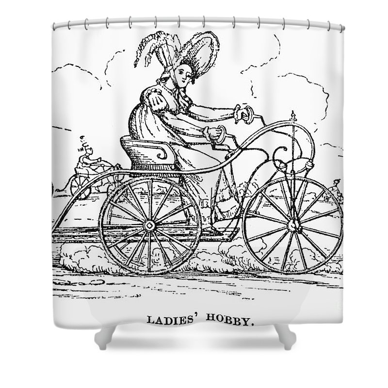 1810s Shower Curtain featuring the photograph Lady Velocipedist, C1820 by Granger