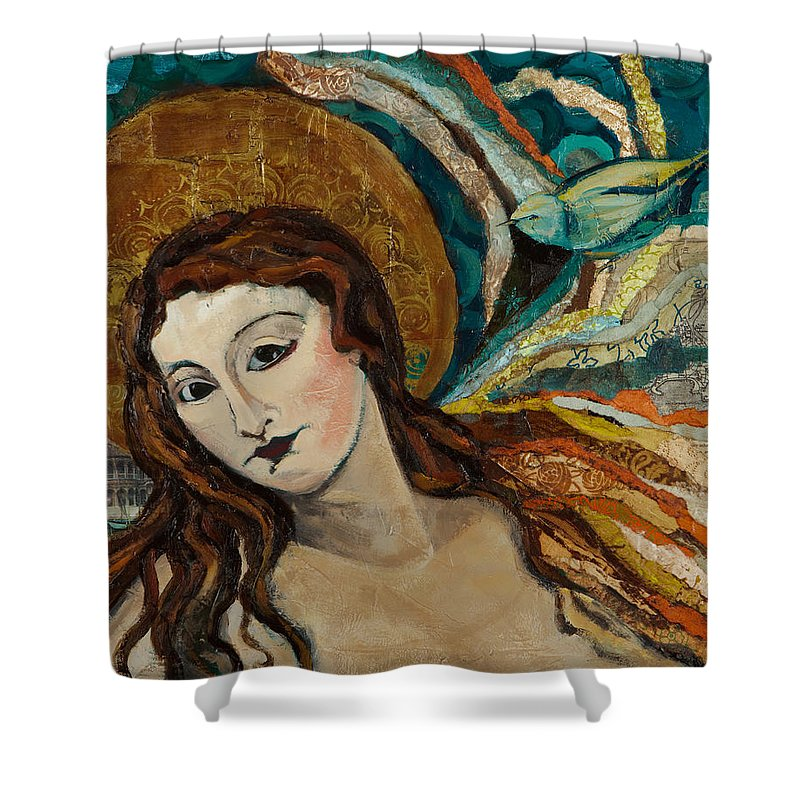 Figure Shower Curtain featuring the mixed media Lady With Bird by Michele Norris