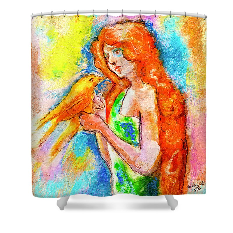 Painting Shower Curtain featuring the digital art Lady With Canary by Ted Azriel