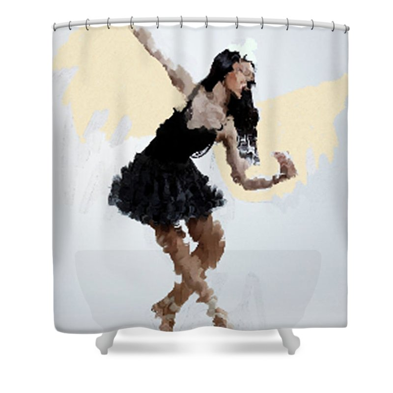 Abstract Art Shower Curtain featuring the painting Lady With Wings by Kartick Dutta