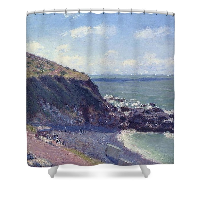Lady's Cove Shower Curtain featuring the painting Ladys Cove by MotionAge Designs