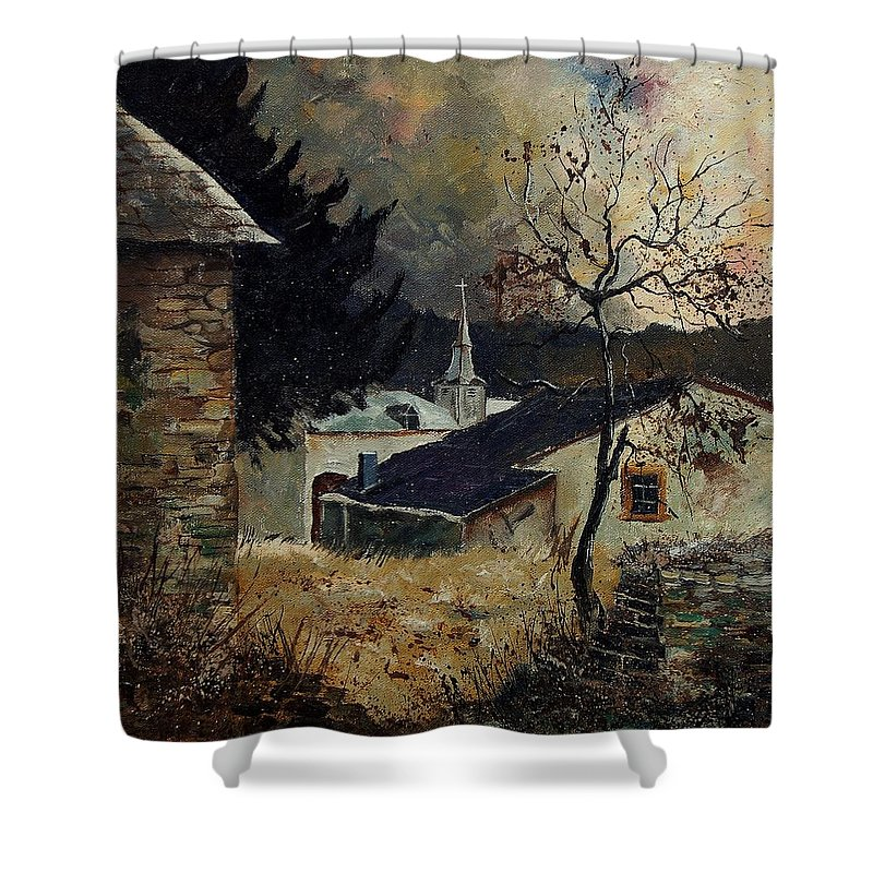 Tree Shower Curtain featuring the painting Laforet Ardennes Village by Pol Ledent