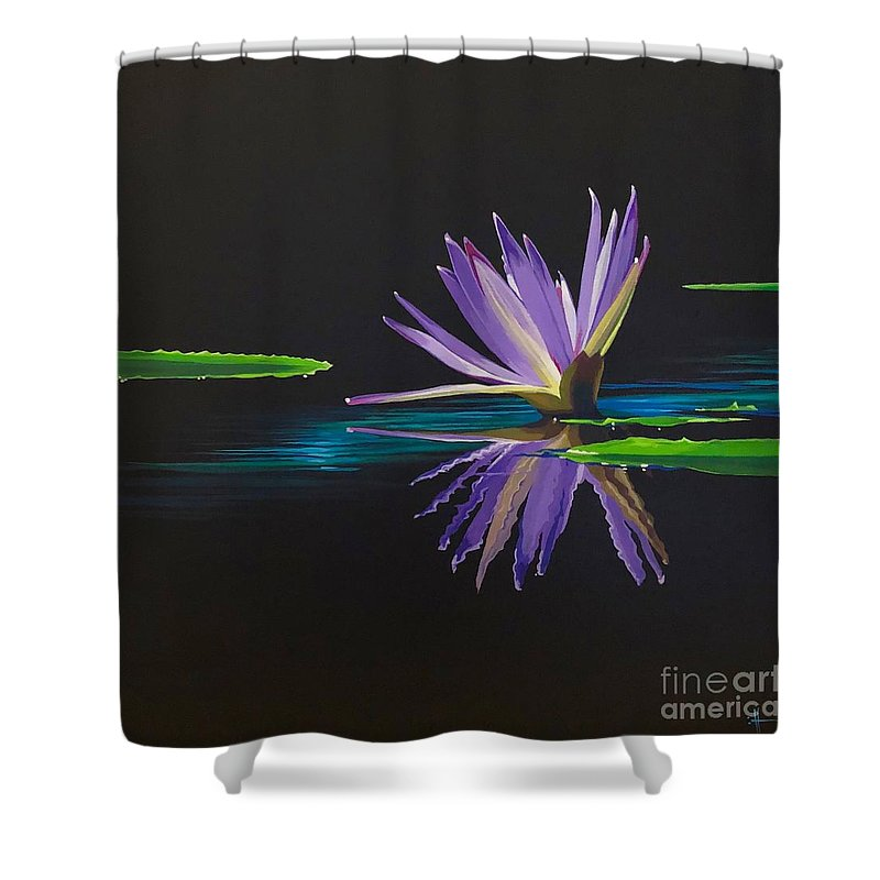 Waterlily Shower Curtain featuring the painting Lagan Love by Hunter Jay