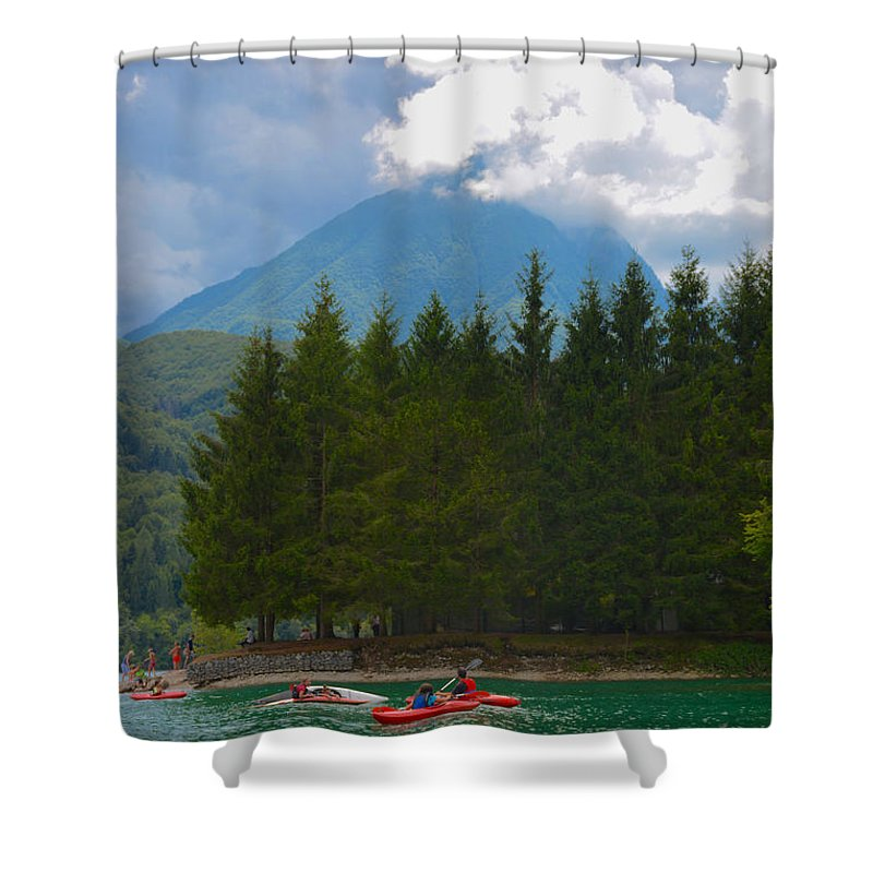 Lago Di Barcis Shower Curtain featuring the photograph Lago Di Barcis by Photos By Zulma
