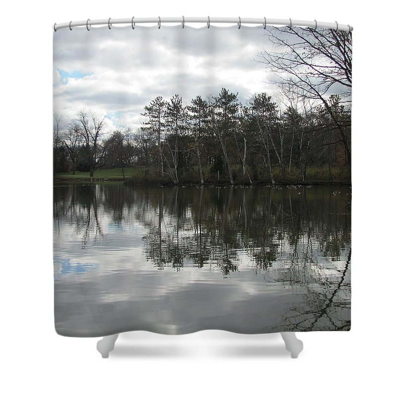 Lagoon Shower Curtain featuring the photograph Lagoon Reflection 1 by Anita Burgermeister