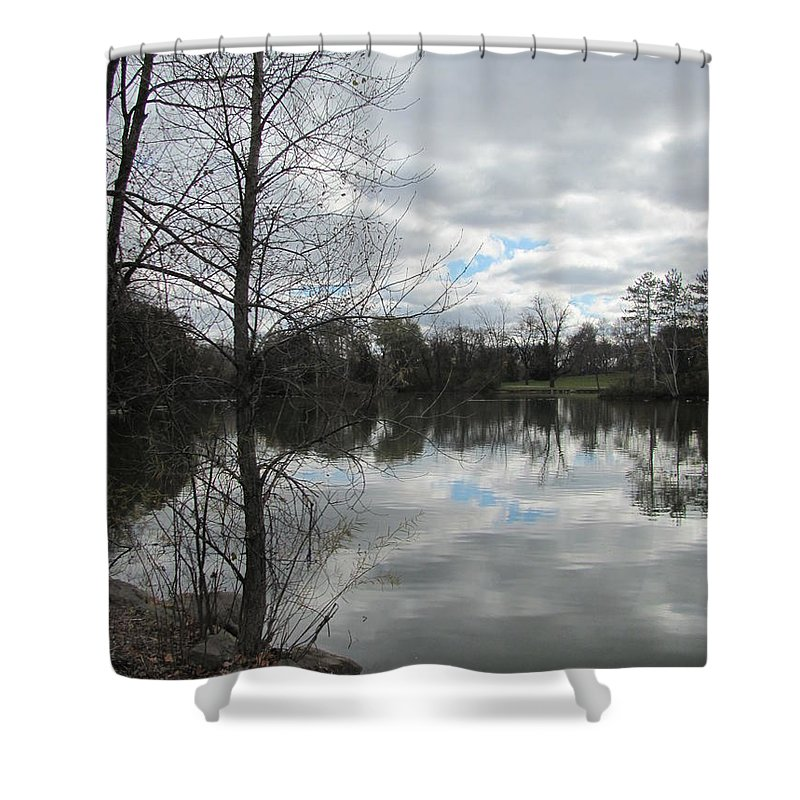 Lagoon Shower Curtain featuring the photograph Lagoon Reflections 2 by Anita Burgermeister