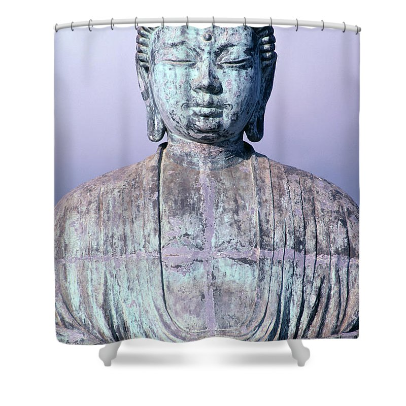 Afternoon Shower Curtain featuring the photograph Lahaina Buddha At Jodo by Greg Vaughn - Printscapes