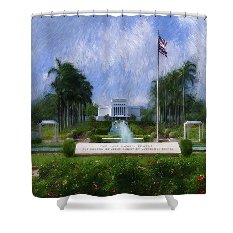 Laie Shower Curtain featuring the painting Laie Hawaii Temple by Geoffrey Lewis