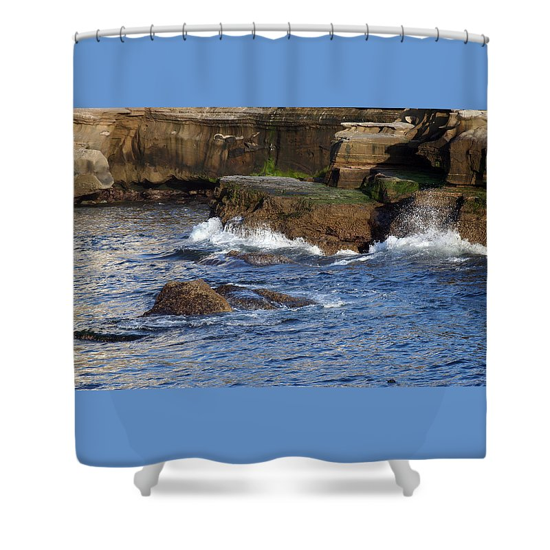 Ocean Shower Curtain featuring the photograph Lajolla Rocks by Margie Wildblood
