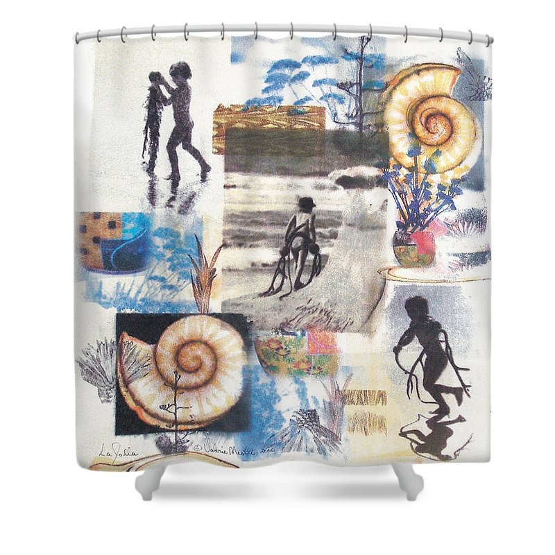 Abstract Shower Curtain featuring the painting Lajolla by Valerie Meotti