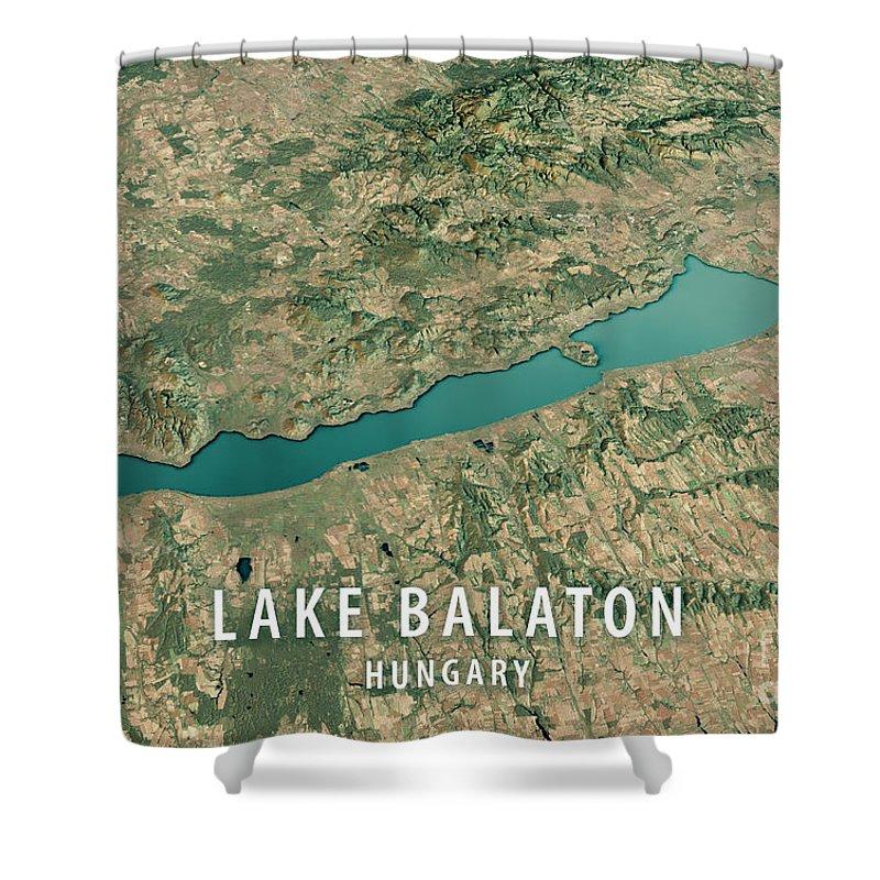 Lake Balaton Shower Curtain featuring the digital art Lake Balaton 3d Render Satellite View Topographic Map Horizontal by Frank Ramspott