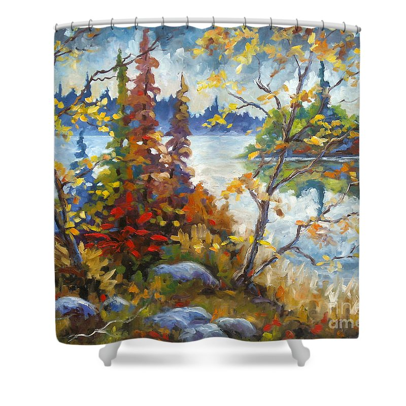 Trees Shower Curtain featuring the painting Lake Cartier by Richard T Pranke