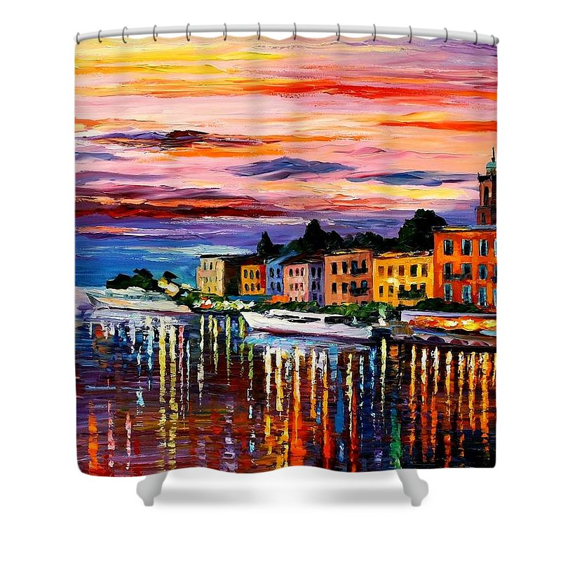 Cityscape Shower Curtain featuring the painting Lake Como - Bellagio by Leonid Afremov