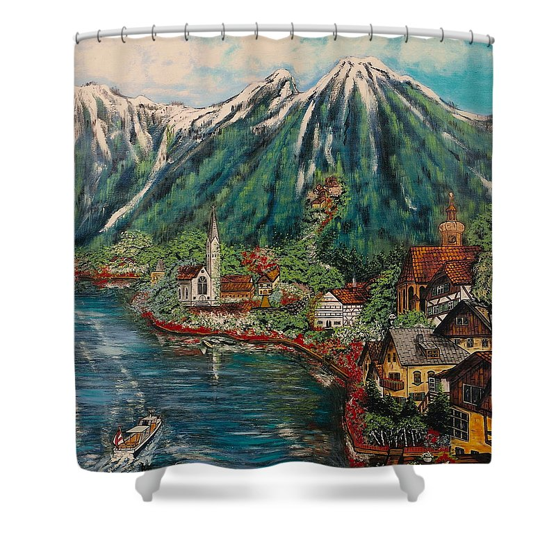 Austria Shower Curtain featuring the painting Lake Constance by V Boge