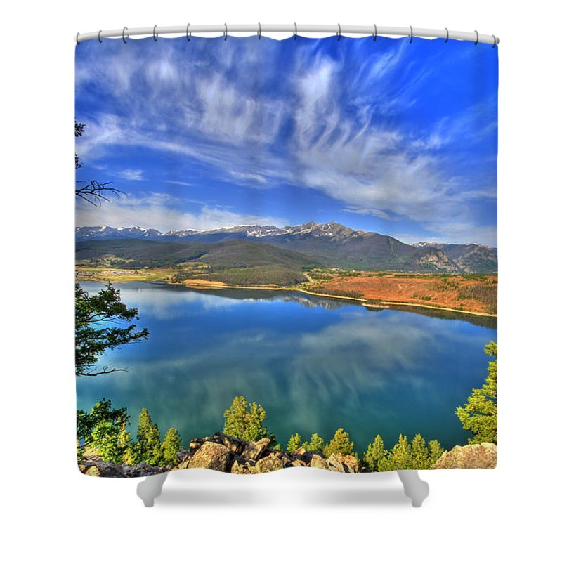Colorado Shower Curtain featuring the photograph Lake Dillon Blue by Scott Mahon