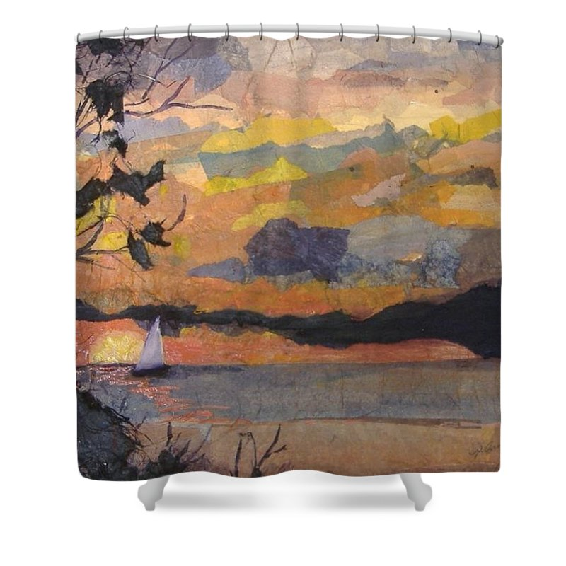Seascape Shower Curtain featuring the mixed media Lake Erie Sunset by Pat Snook