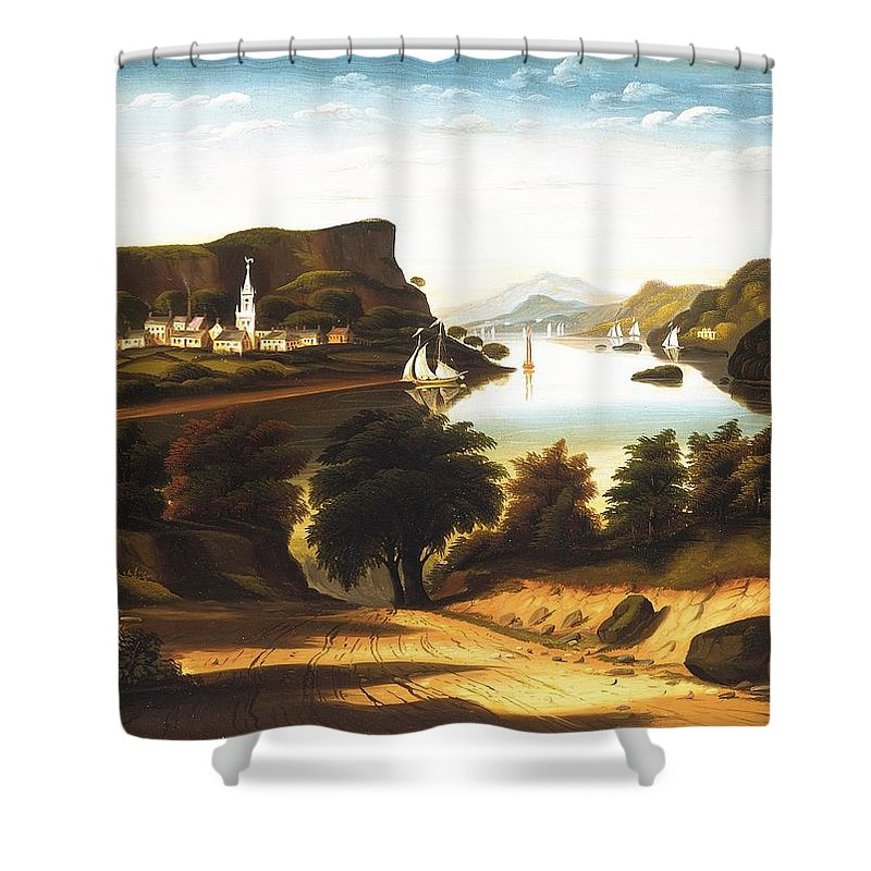 Lake George And The Village Of Caldwell By Thomas Chambers Shower Curtain featuring the painting Lake George And The Village by Thomas Chambers