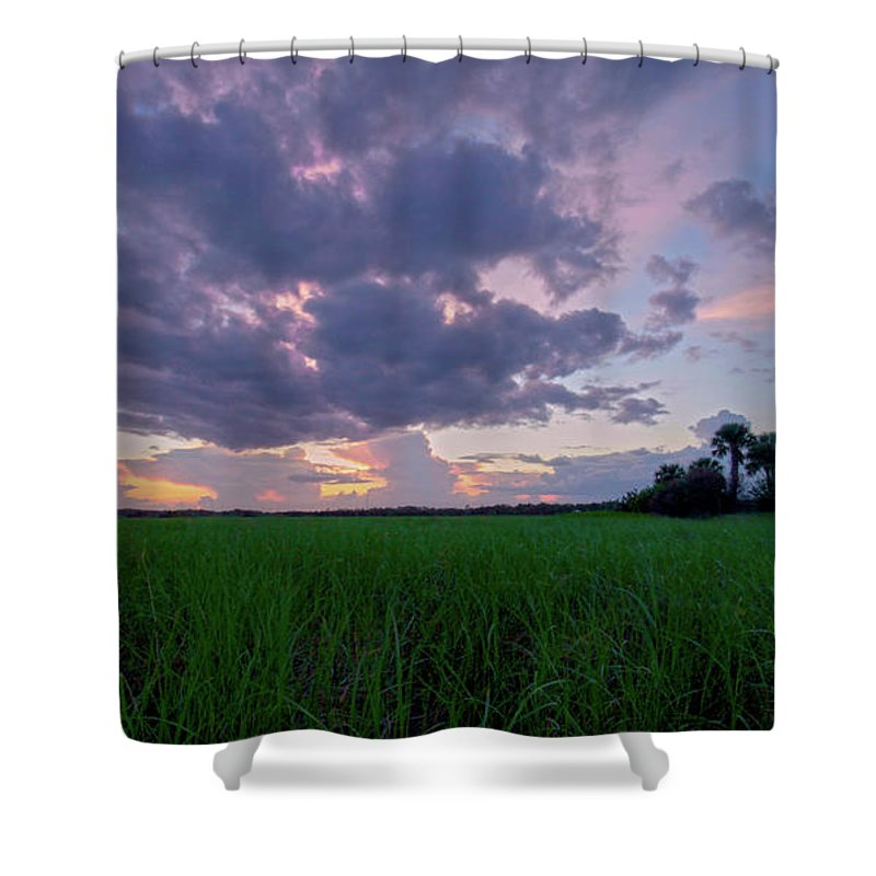 Sunset Shower Curtain featuring the photograph Lake Harney Sunset by Charlie Grindrod