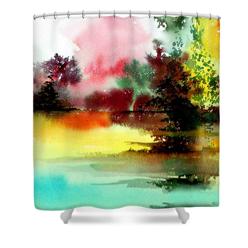 Nature Shower Curtain featuring the painting Lake In Colours by Anil Nene