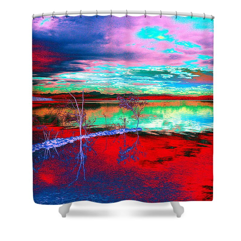 Sea Shower Curtain featuring the digital art Lake In Red by Helmut Rottler