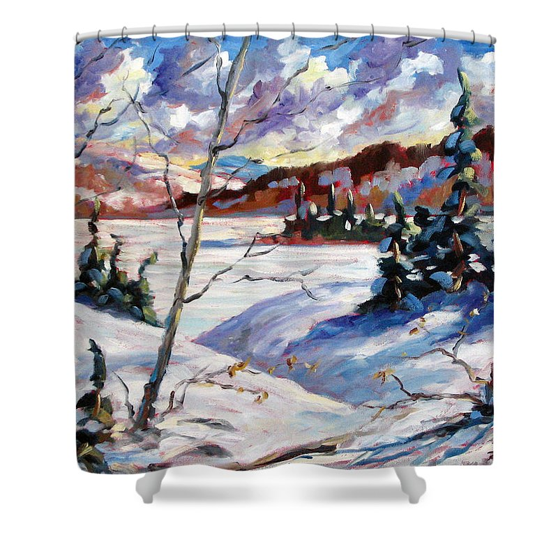 Lake Shower Curtain featuring the painting Lake In Winter by Richard T Pranke