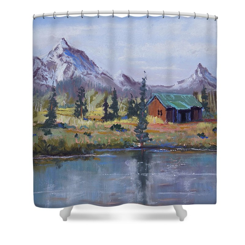 Pastel Landscape Shower Curtain featuring the painting Lake Jenny Cabin Grand Tetons by Heather Coen