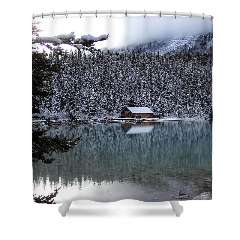 Shower Curtain featuring the photograph Lake Louise Boathouse by Rhonda Robinson