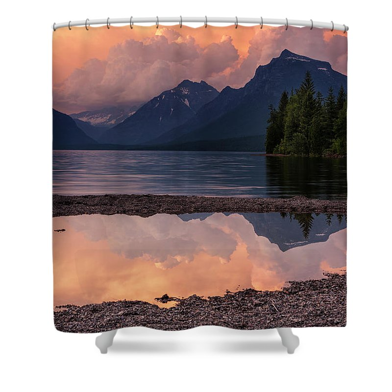 Glacier National Park Shower Curtain featuring the photograph Lake Mcdonald Sunset by Mark Kiver