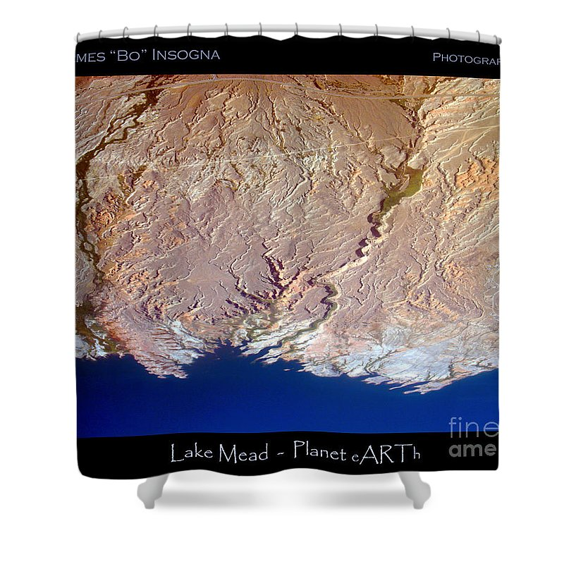 Aerial Shower Curtain featuring the photograph Lake Mead - Planet Art by James BO Insogna