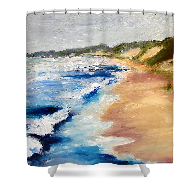 Whitecaps Shower Curtain featuring the painting Lake Michigan Beach With Whitecaps Detail by Michelle Calkins