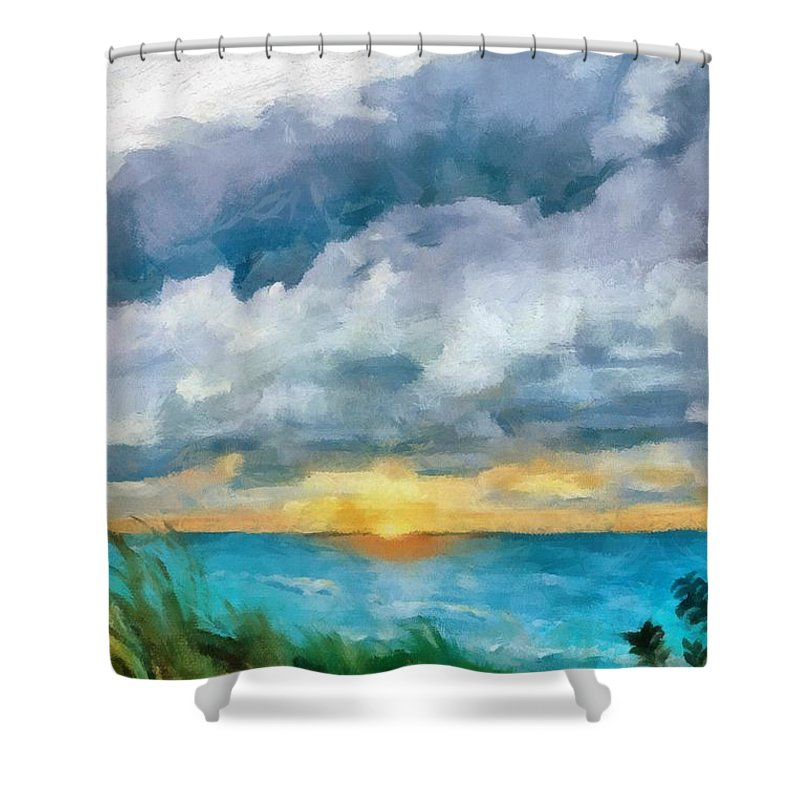 Golden Shower Curtain featuring the painting Lake Michigan Sunset by Michelle Calkins