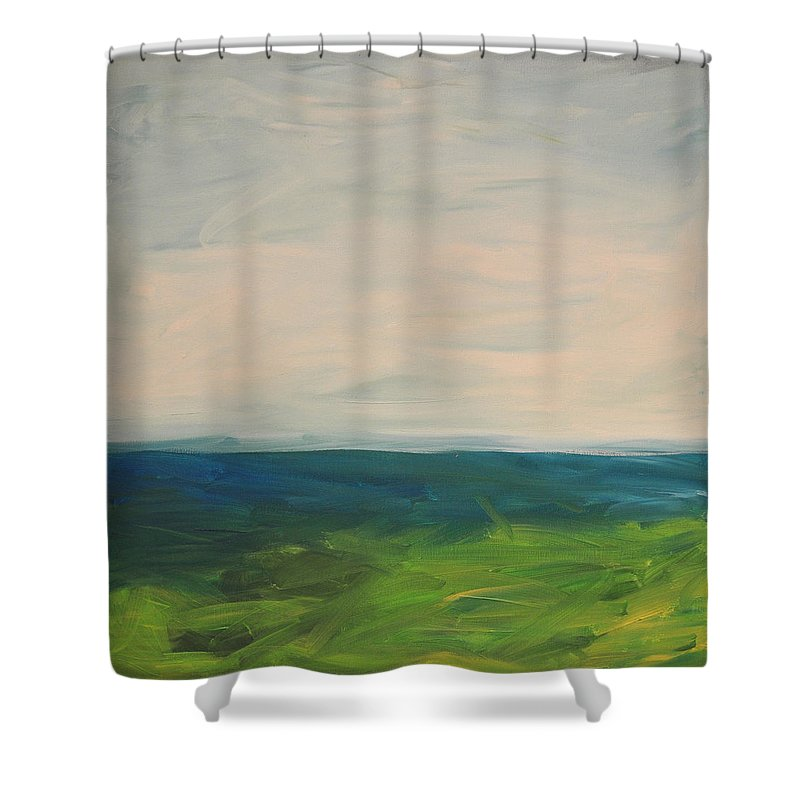 Lake Shower Curtain featuring the painting Lake Michigan by Tim Nyberg
