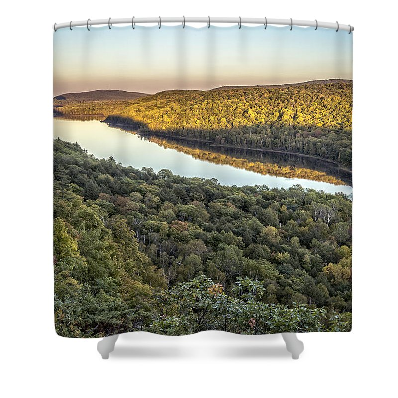 Fall Shower Curtain featuring the photograph Lake Of The Clouds Sunset by Jack R Perry