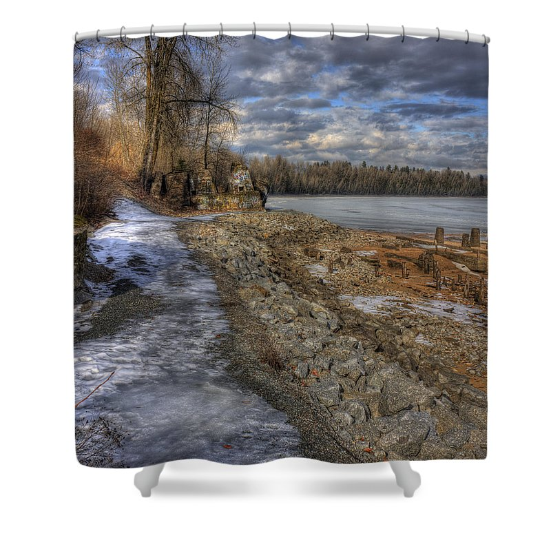 Landscape Shower Curtain featuring the photograph Lake Pend D'oreille At Humbird Ruins by Lee Santa