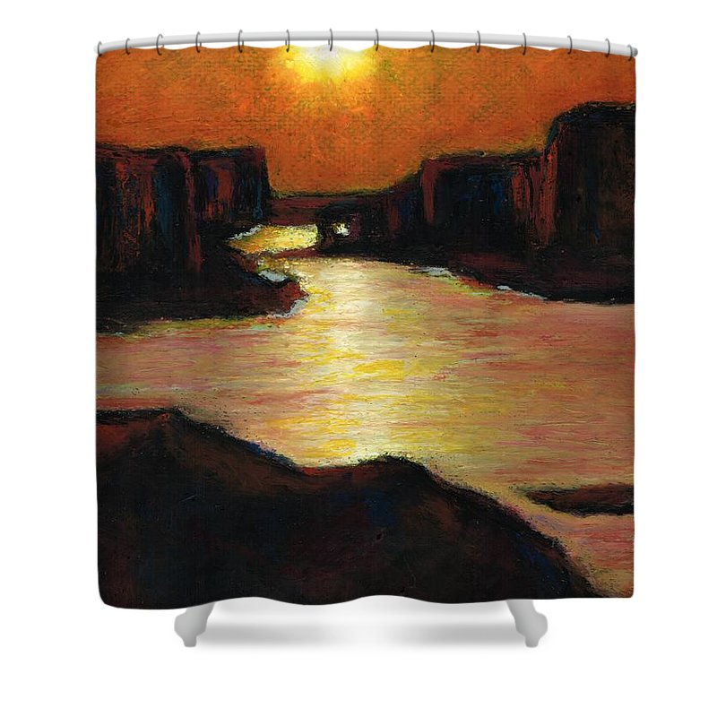 Lake Powell Shower Curtain featuring the painting Lake Powell At Sunset by Frances Marino