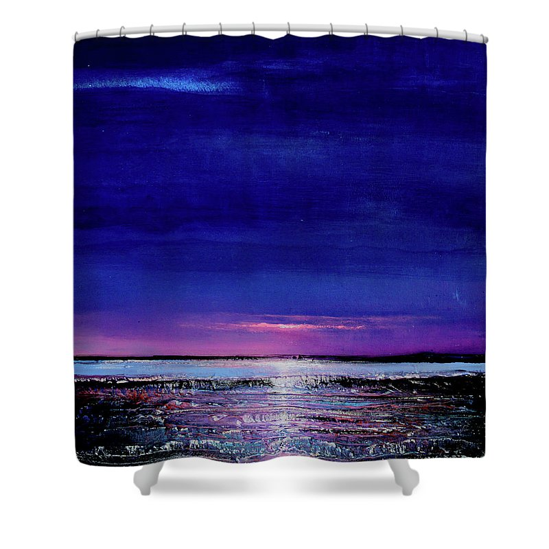 Night Shower Curtain featuring the painting Lake Shimmers by Toni Grote