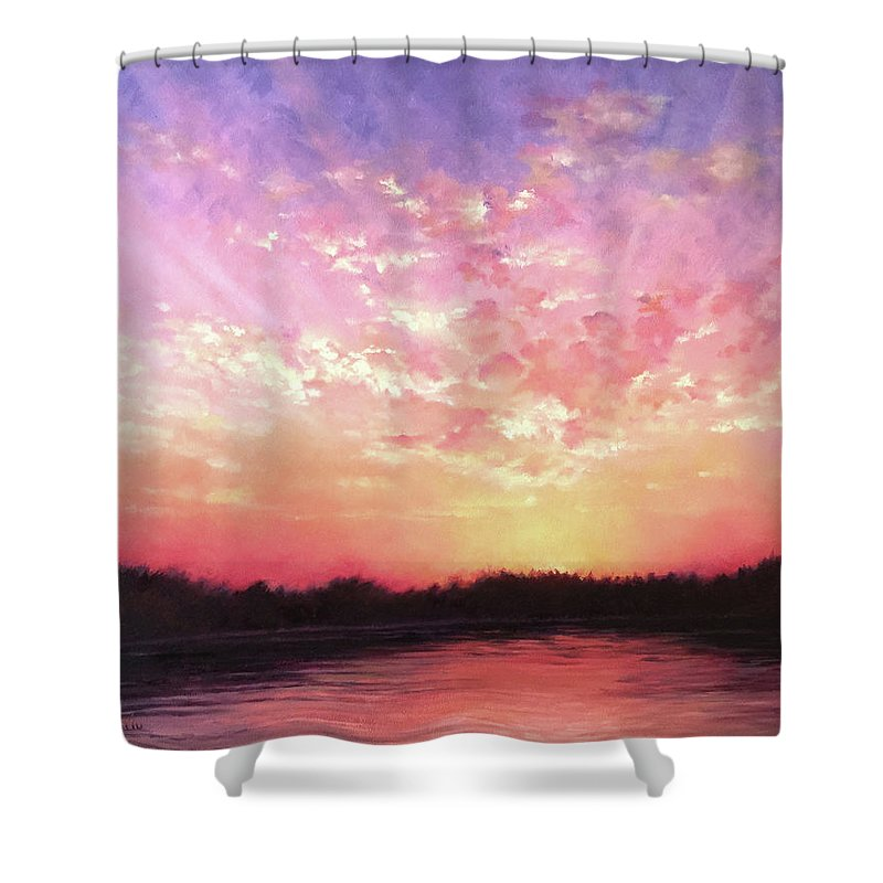 Landscape Shower Curtain featuring the painting Lake Sunset by Teri Rosario