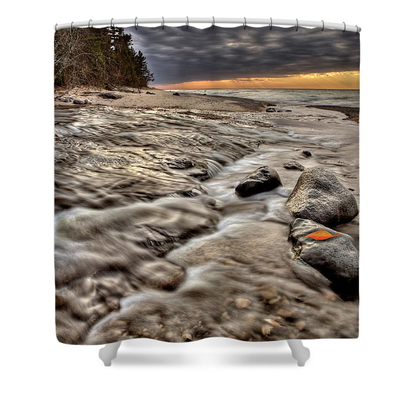 Lake Shower Curtain featuring the digital art Lake Superior Northern Michigan by Mark Duffy