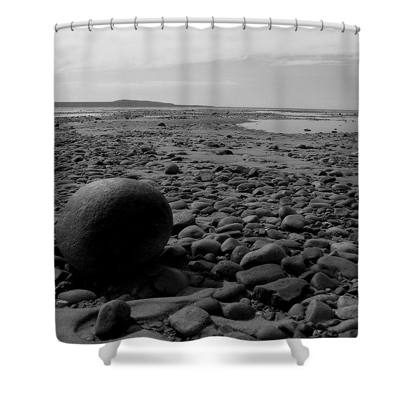 Lake Shower Curtain featuring the photograph Lake Superrior Rock Black And White by Marko Mitic