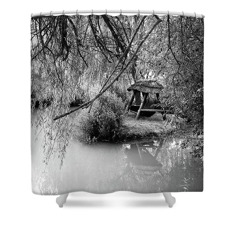 Photograph Shower Curtain featuring the photograph Lake Swing - Black And White by Nicole Parks
