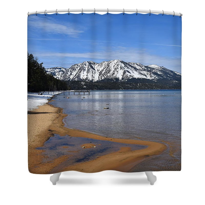 Lake Tahoe Ca Shower Curtain featuring the mixed media Lake Tahoe by Christina McNee-Geiger