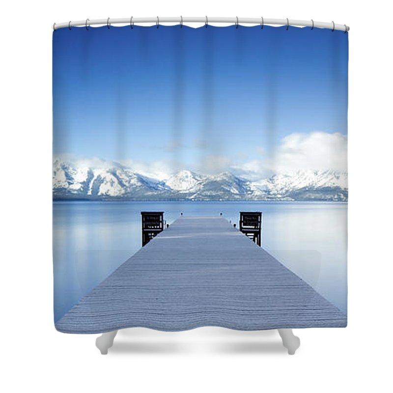 Lake Shower Curtain featuring the photograph Lake Tahoe Panorama by Matthew Train