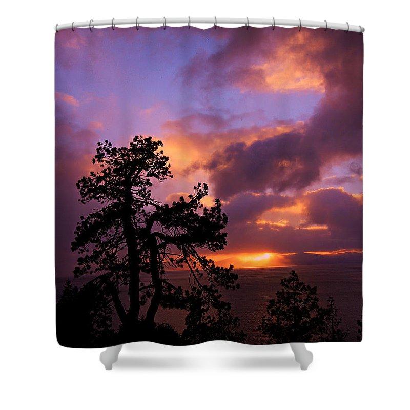 Lake Tahoe Shower Curtain featuring the photograph Lake Tahoe Sundown 2 by Sean Sarsfield