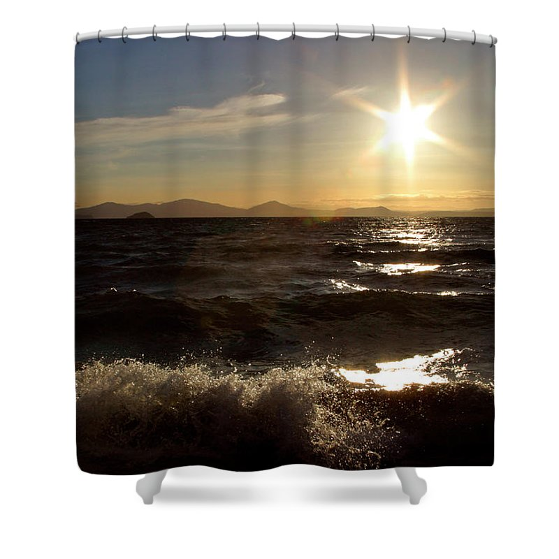 Shower Curtain featuring the digital art Lake Taupo New Zealand by Mark Duffy